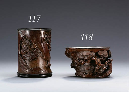A LARGE BAMBOO LIBATION CUP