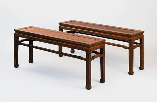 A PAIR OF HUANGHUALI BENCHES,