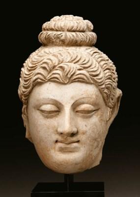 A stucco head of Buddha
