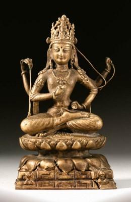 A bronze figure of a Caturbhuj