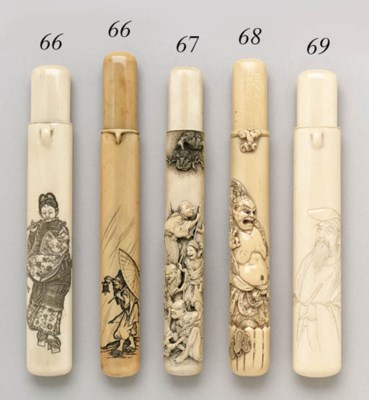 TWO IVORY PIPECASES**