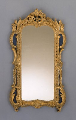 A LOUIS XV GILTWOOD AND BLUE-P