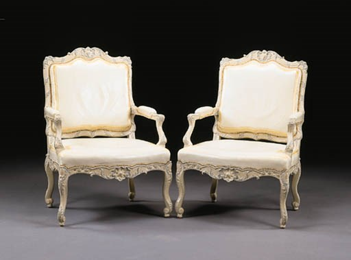 A PAIR OF LOUIS XV CREAM AND G