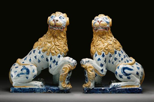 A PAIR OF ROUEN FAIENCE MODELS