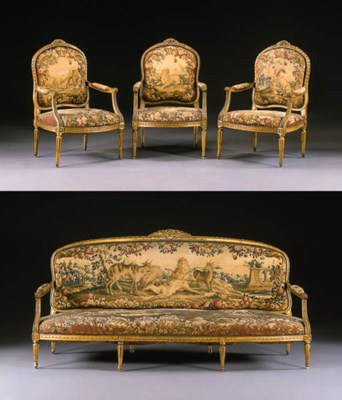A SUITE OF LOUIS XVI GILTWOOD