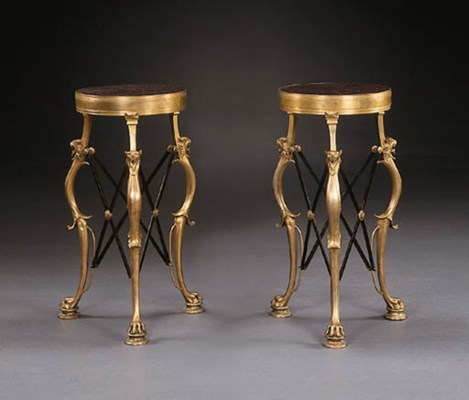 A PAIR OF ORMOLU AND PORPHYRY