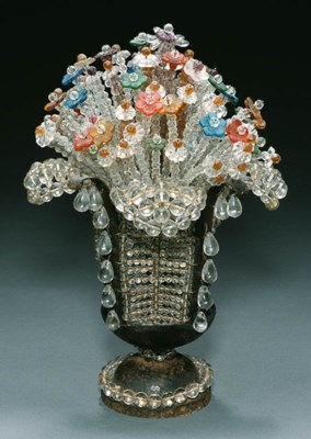 A BEADED GLASS AND WROUGHT-IRO