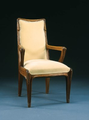 A CARVED MAHOGANY ARMCHAIR