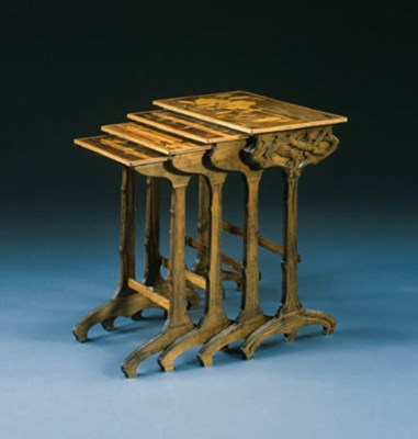 A SET OF FOUR NESTED MARQUETRY