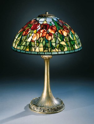 A 'TULIP' LEADED GLASS AND GIL