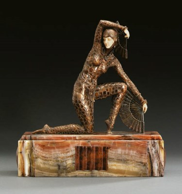 'FAN DANCER', A PATINATED BRON