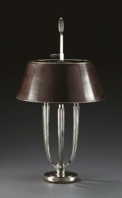A SILVERED-BRONZE TABLE LAMP