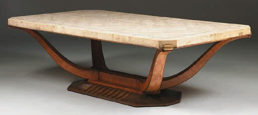 A BURLWOOD AND SHAGREEN TABLE