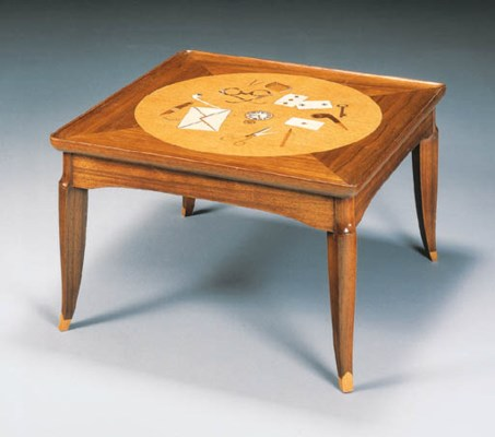 AN IVORY AND MARQUETRY MAHOGAN