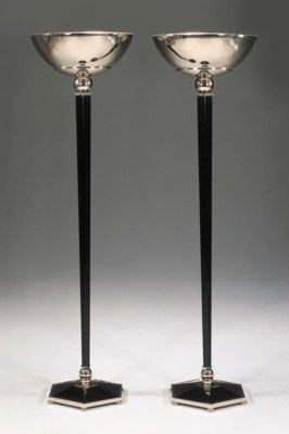 A PAIR OF BLACK LACQUER AND CH