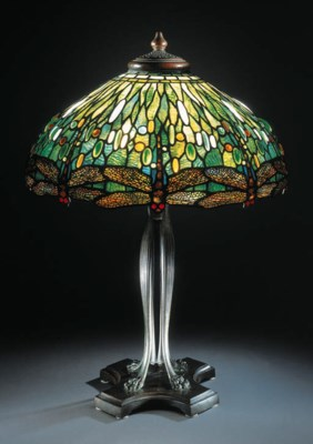A FINE 'DRAGONFLY' LEADED GLAS