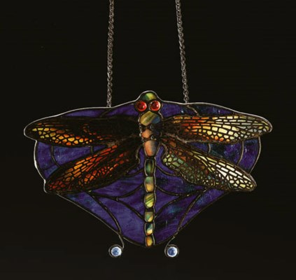 A 'DRAGONFLY' LEADED GLASS LAM