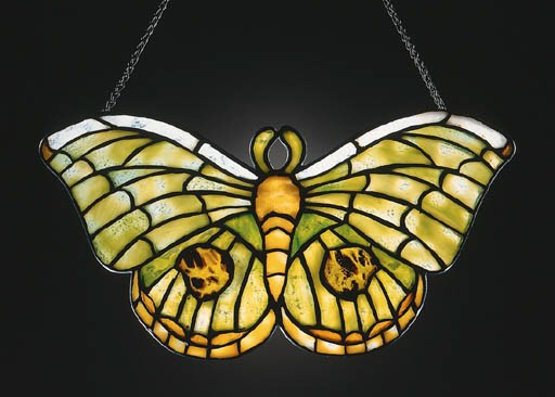 A 'BUTTERFLY' LEADED GLASS LAM