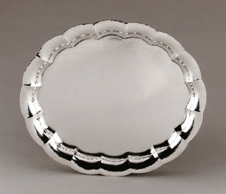 A SILVER-PLATE TRAY
