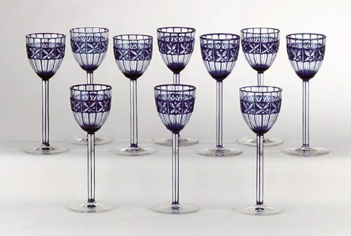 A SET OF TEN FLASHED BLUE GLAS