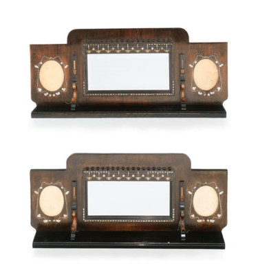 A PAIR OF INLAID WOOD MIRRORS