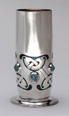 AN ENAMELED SILVER AND TURQUOI