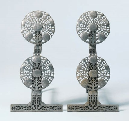 A PAIR OF PIERCED AND ENGRAVED