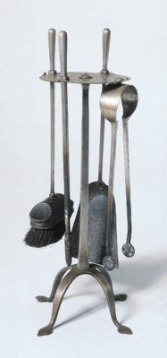 A SET OF FOUR PEWTER FIRETOOLS