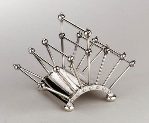 A SILVER-PLATED METAL TOAST RA