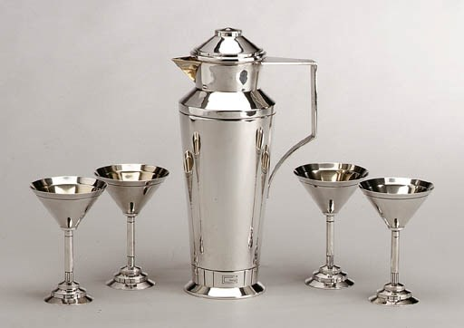 A FIVE-PIECE SILVER COCKTAIL S