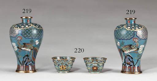 A Pair of Cloisonn Enamel Cups
