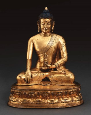 A Gilt Bronze Figure of Akshob