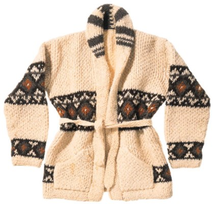 A HAND-KNITTED CARDIGAN