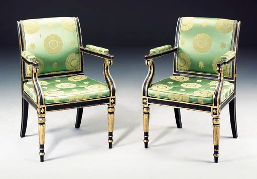 A PAIR OF LATE GEORGE III BLAC