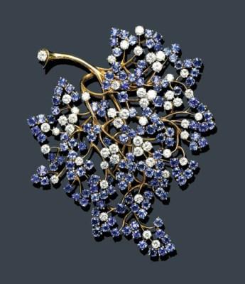 A RETRO SAPPHIRE, DIAMOND AND