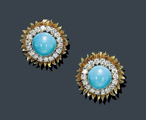 A PAIR OF CABOCHON TURQUOISE,