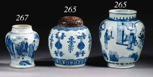 Two blue and white oviform jar