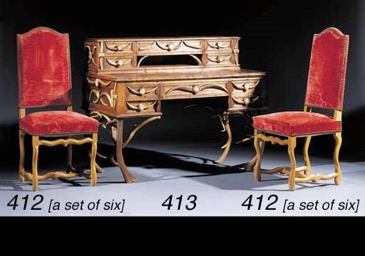 A set of six berch side chairs