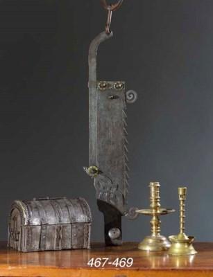 A brass candlestick