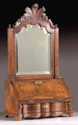 A Dutch walnut toilet-mirror