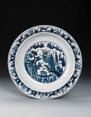 A LARGE LATE MING BLUE AND WHI
