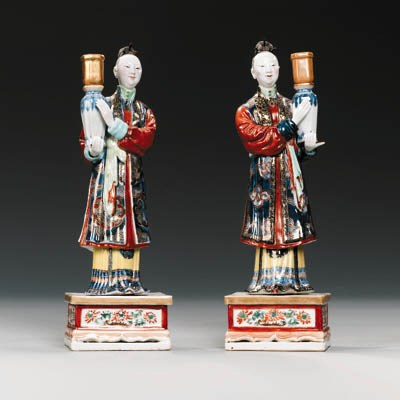 A PAIR OF EXPORT CANDLE-HOLDER