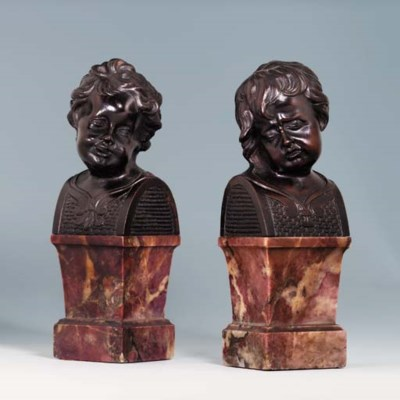A PAIR OF BRONZE BUSTS OF YOUN