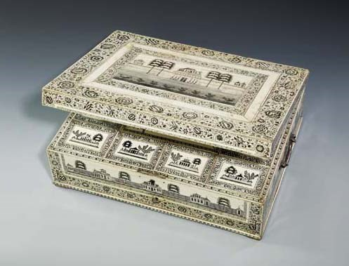 AN ANGLO-INDIAN IVORY WORK-BOX