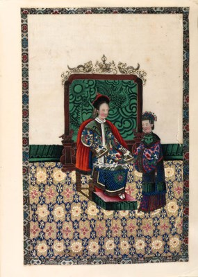 CHINESE WATERCOLOURS. - A coll