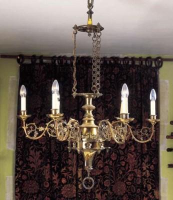 A Victorian brass six-light ch