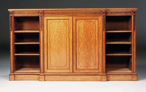 A MID-VICTORIAN SATINWOOD OPEN