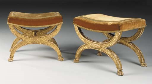 A PAIR OF FRENCH GILTWOOD TABO