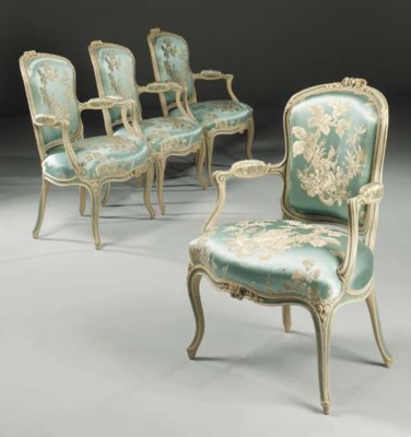 A SET OF FOUR LOUIS XV BLUE-AN