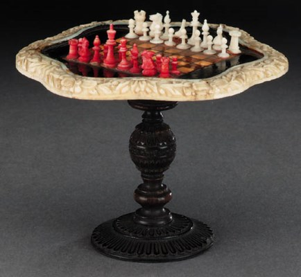 An Indian miniature ivory and
